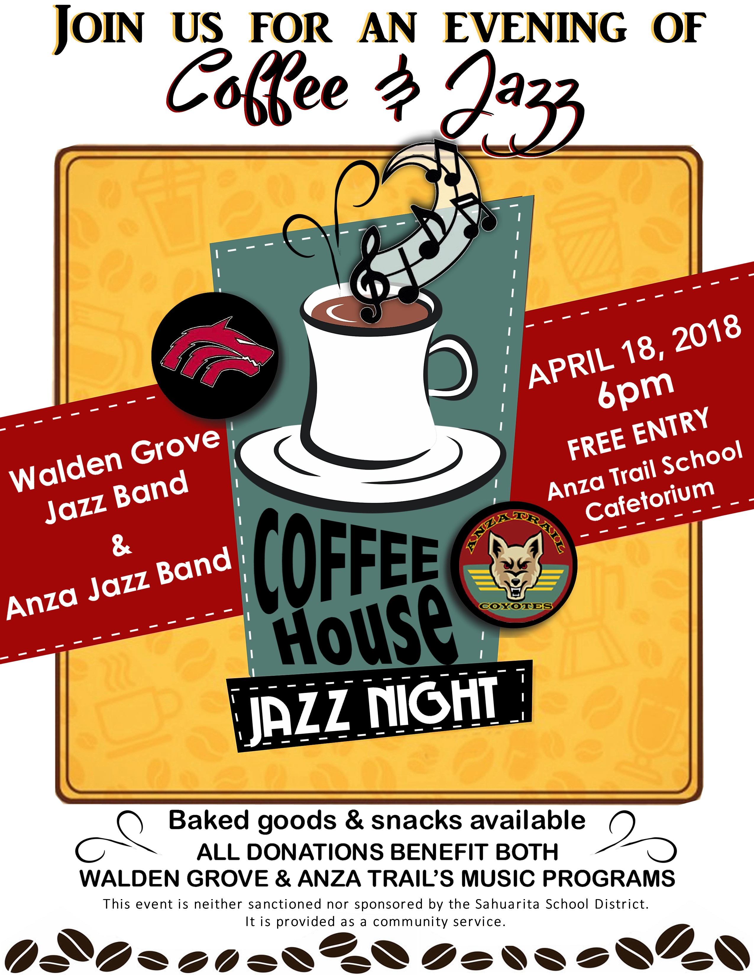 Coffee House Jazz Night 04/04/18 6pm at Anza Trail Cafetorium