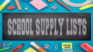 School Supply Lists various school supplies in border